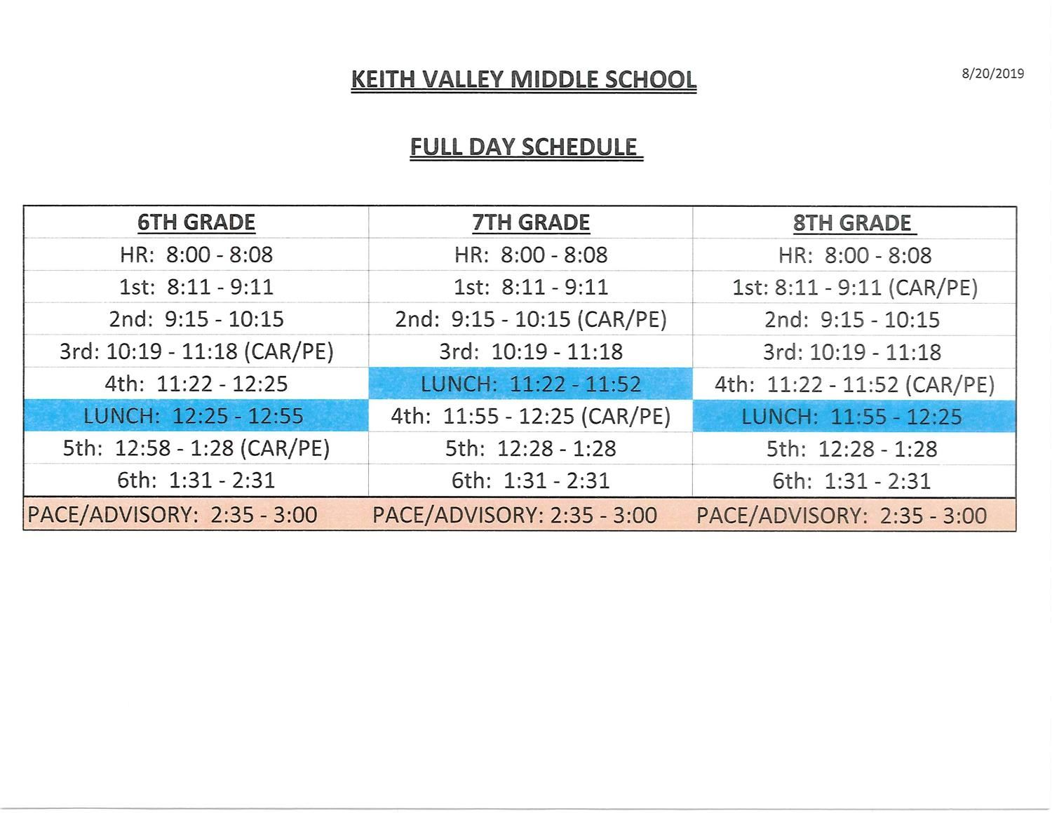 FULL DAY SCHEDULE
